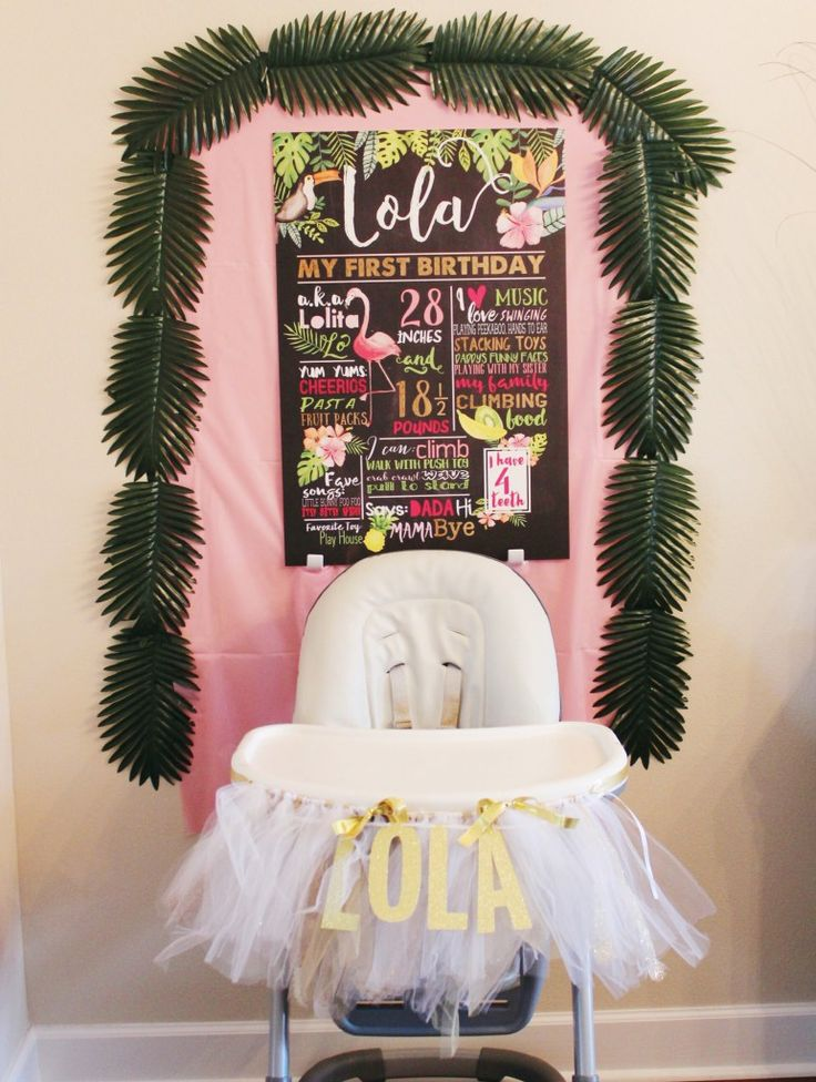 Lola's Copacabana 1st Birthday Party - Oh Happy Play- first birthday- fun to be one- havana nights- fruitti tuitti, first birthday, party theme, flamingo party, her name was lola, one, baby girl party, pink and gold birthday, chalkboard birthday sign