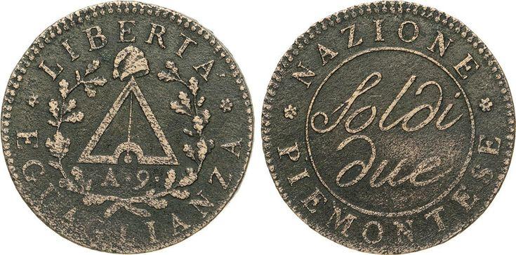 NumisBids: Numismatica Varesi s.a.s. Auction 65, Lot 574 : TORINO - REPUBBLICA SUBALPINA (1800-1802) 2 Soldi A. 9 (1800-1801),...