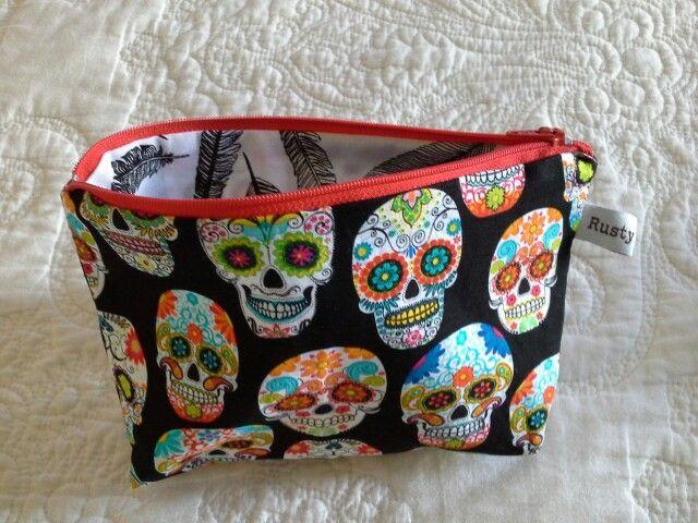 Skull fabric makeup purse