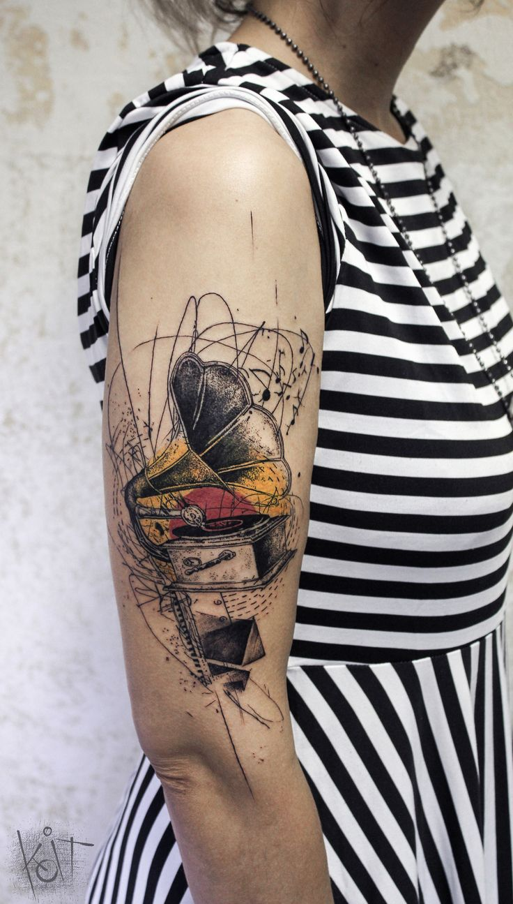 Gramophone tattoo by KOit, Berlin. koittattoo@gmail.com