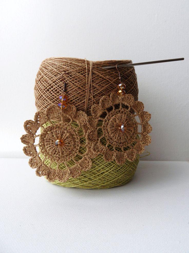 Croché Brincos de linho natural brincos círculo Artesanato -  /   Crochet Earrings Natural Linen Circle Earrings  Crafts -