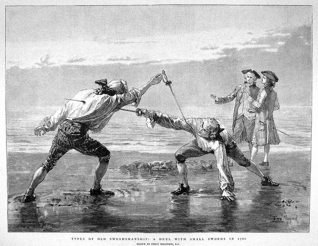 Not Renaissance, but ... Percy Mcquoid Types of old swordsmanship: A duel with small swords in 1760.