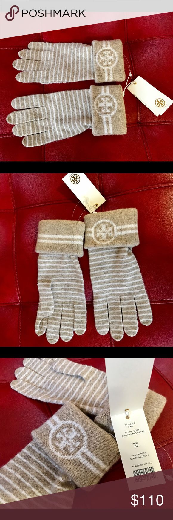 Tory Burch Striped Merino wool Gloves Brand new with tag in Oatmeal Multi colour  95% Merino wool  3% Polyamide 2% Elastane  Retail price is $125 plus taxes Tory Burch Accessories Gloves & Mittens