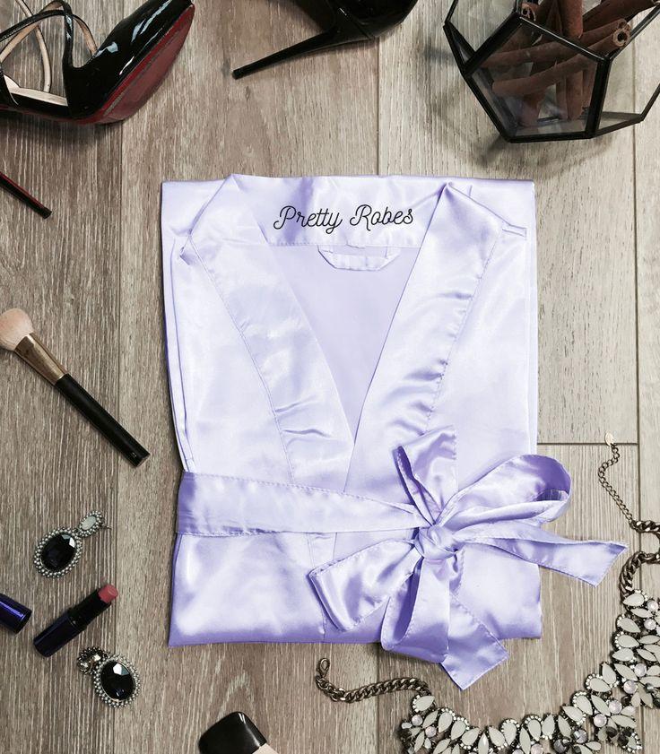 Periwinkle Satin Kimono Robe