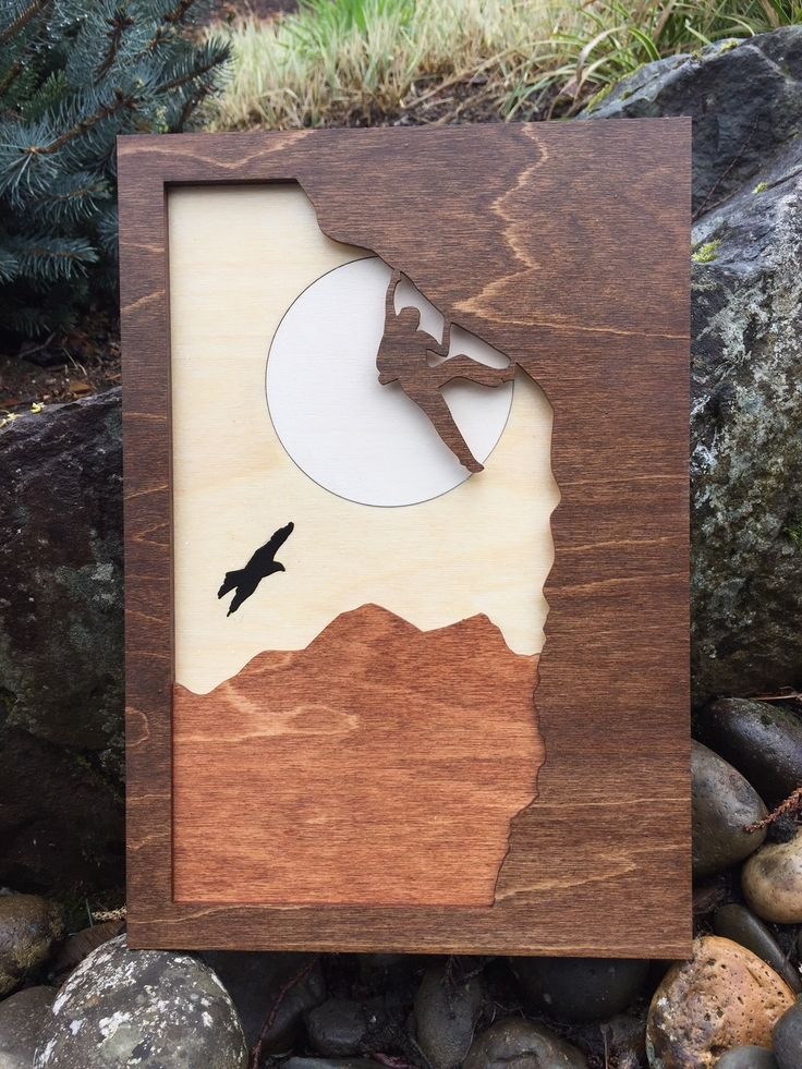 Mountain Climber 3D Laser Cut Shadow Box Wood Scene / Inlaid / Outdoors / Moon / Handcrafted / Mountains Trees Hawk / Nature / Rock Climber