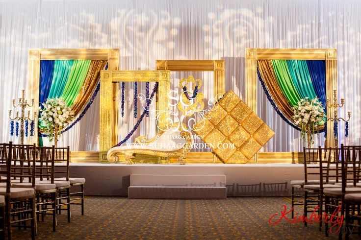 Suhaag Garden, Indian Wedding Decorators, Florida Wedding Decorators, Reception Stage, Lime Green Sapphire Gold & Glitter Draping, Textured Lighting, Signature Frames, Custom Frames, Blue Orchid Garlands