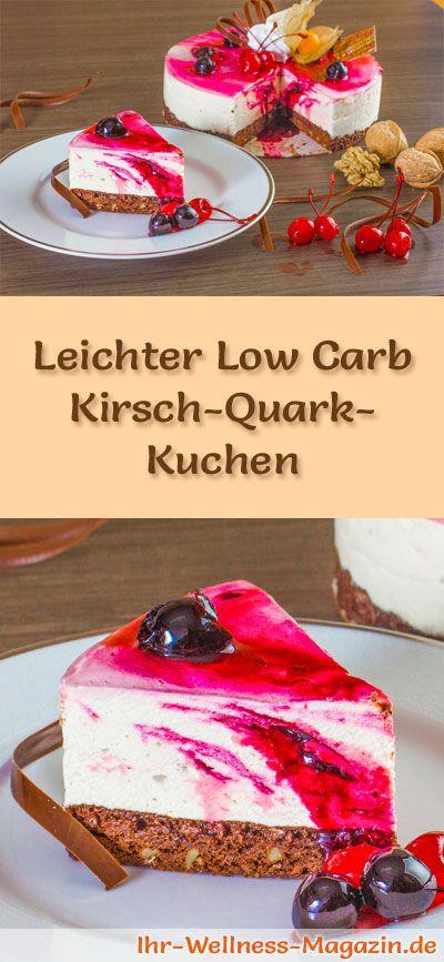Rezept für einen leichten Low Carb Kirsch-Quark-Kuchen: Der kalorienreduzierte Quark-Kuchen mit Kirschen wird ohne Zucker und Getreidemehl gebacken. Er ist kohlenhydratarm, enthält viel Eiweiß ...
