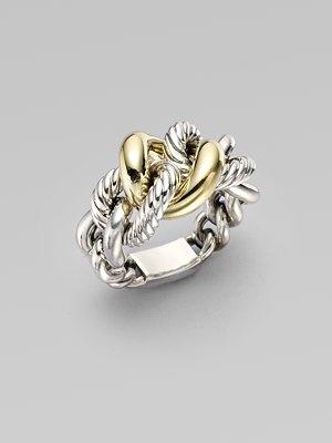 cc457211066249 David Yurman Sterling Silver & 18k yellow gold Link Ring | Jewelry | Jewelry,  Fashion rings, Rings