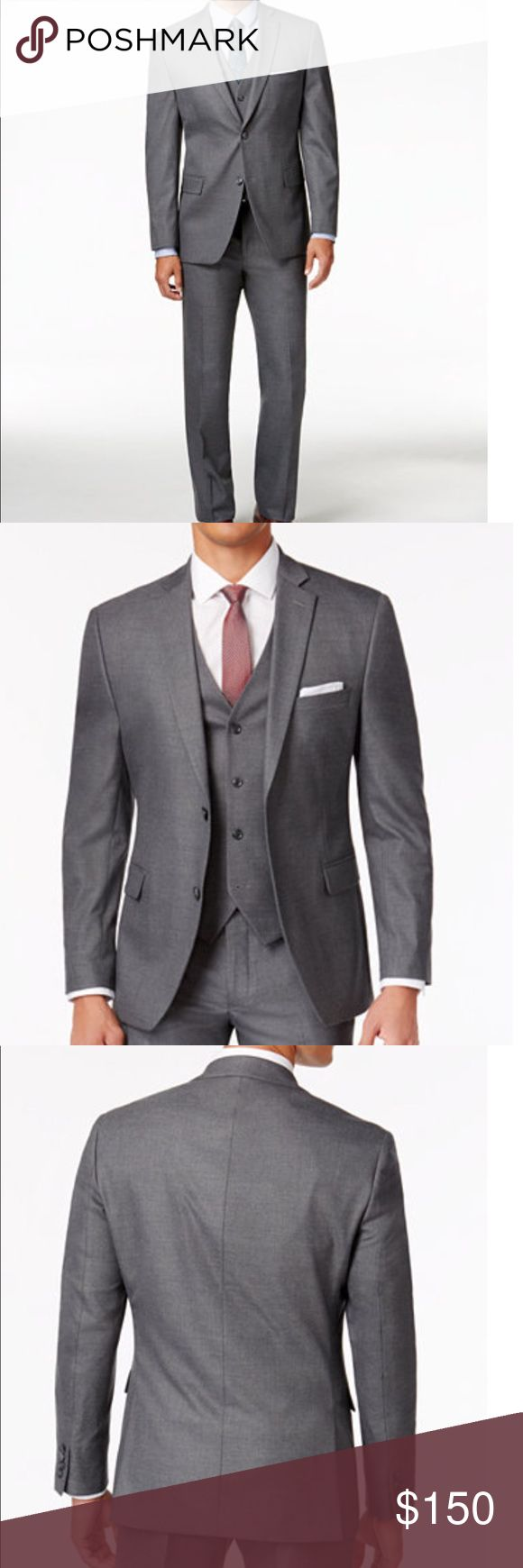 Alfani | Grey Solid Suit | Slim-fit Traveler's Grey Solid Slim-fit Suit  Jacket: Notched lapel, 2button closure, 4button cuffs, 2 front flap pockets;left chest pocket; 6 interior pockets, side vents, fully lined, wrinkle-resistant stretch fabric, cut w/ a narrower point to point shoulder measurement, higher armhole & trimmer thru the chest and waist, shell:polyester/rayon/lyrca, lining: polyester Pants:  French fly & button closure, quarter top pockets, flat front, partially lined, finished…