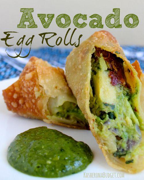 Avocado Egg Rolls with Cilantro Cashew Dipping Sauce