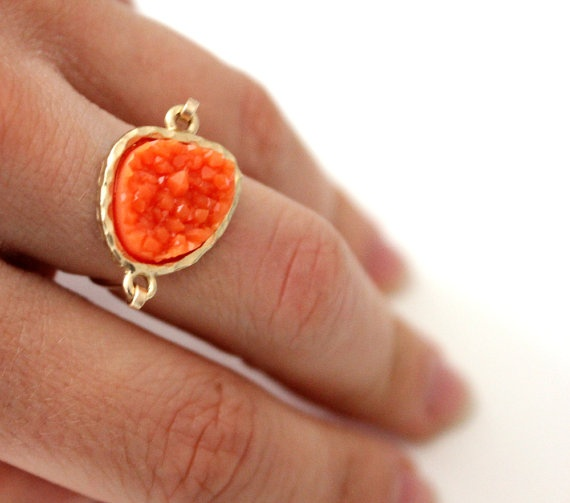 Druzy orange ring 14kt gold filled  custom size by anthology27, $24.95