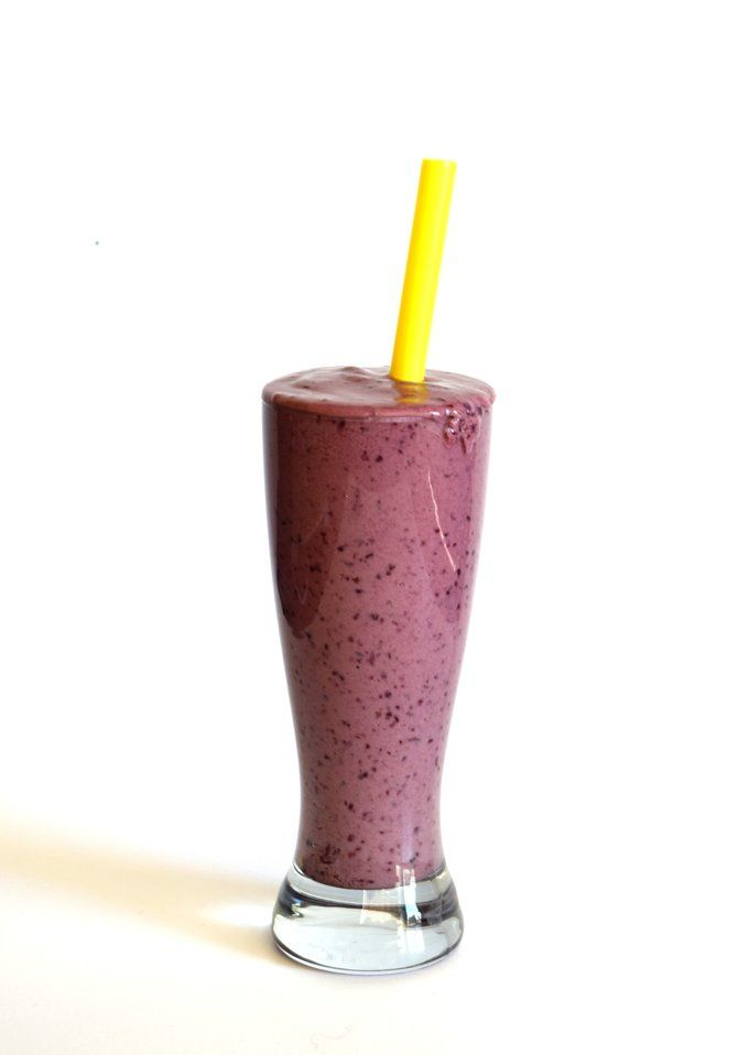 A healthy and nutritious PB and J Smoothie - perfect for a post workout snack!