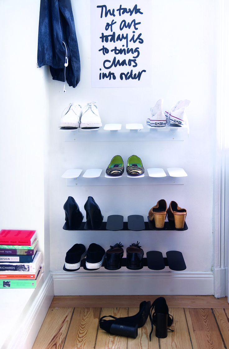 Step shoe shelf stores your shoes in an elegant way. Comes in two different colors - white and black, and two different sizes.