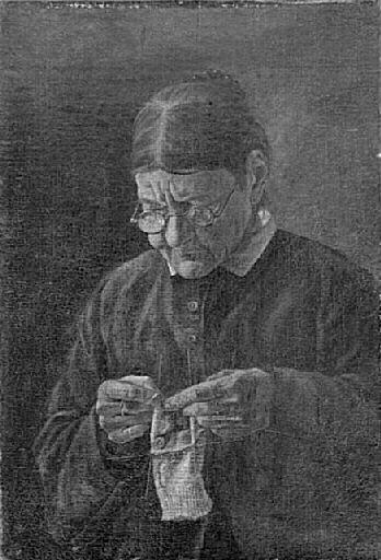 Vieille Femme tricotant by Félix Bracquemond