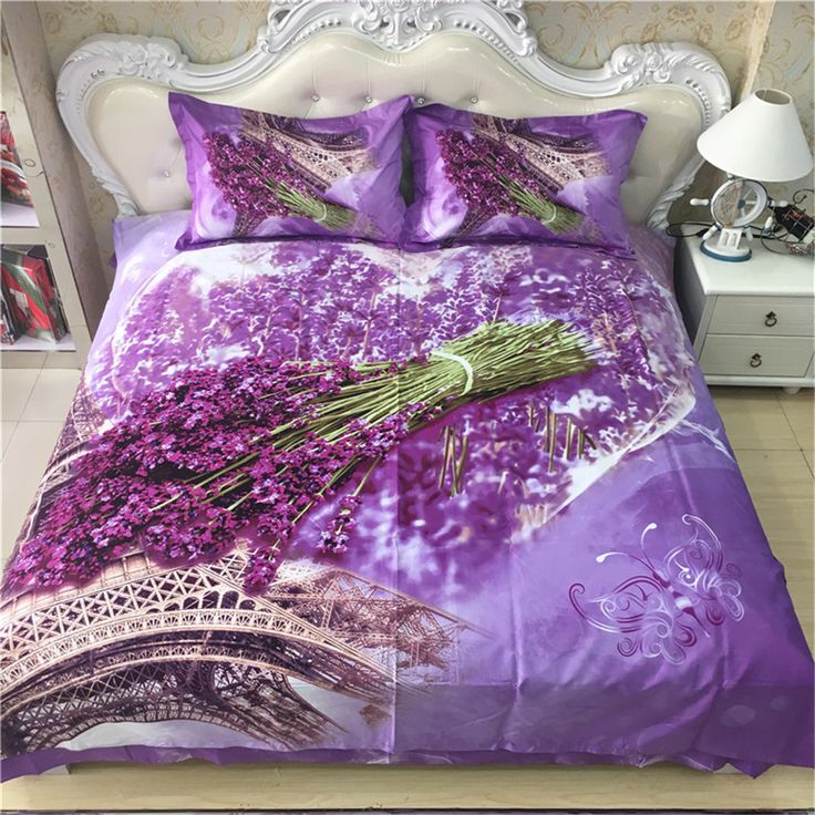 French Lavender the Eiffel Tower Bedding Set Queen King Size Floral Print Light Purple Duvet Cover Bed Sheets Cotton Bedroom Set