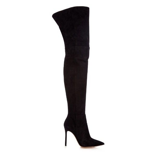 GIANVITO ROSSI Over-the-knee suede boots ($1,987) ❤ liked on Polyvore featuring shoes, boots, black, black thigh high boots, over knee boots, thigh boots, overknee boots and over-knee boots