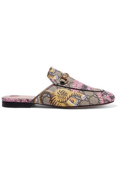 Gucci | Princetown printed coated-canvas slippers | NET-A-PORTER.COM