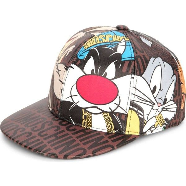 MOSCHINO Looney Tunes leather snapback ($610) ❤ liked on Polyvore featuring accessories, hats, brown, moschino, brown snapback, adjustable snapback hats, leather snapback hats and brown leather hat