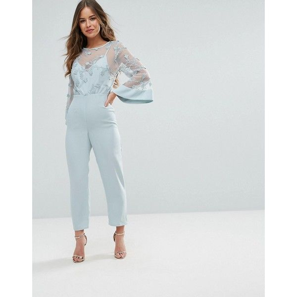 ASOS PETITE Jumpsuit with Lace Bodice and Contrast Satin Pant (2.285 UYU) ❤ liked on Polyvore featuring jumpsuits, satin jumpsuit, zipper jumpsuit, petite jumpsuit, jump suit and asos