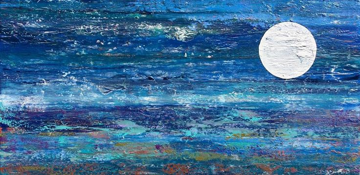 Discover Original Art by Alicia Dunn | Moonlight Mile mixed media artwork | Art for Sale Online at UGallery