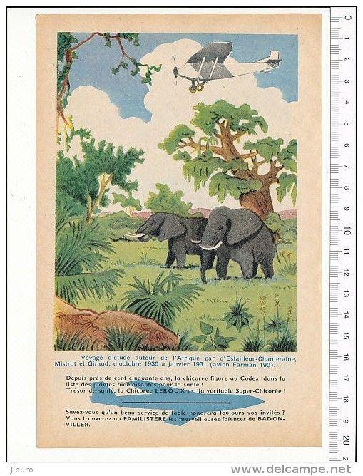 Voyage D'Estailleur-Chanteraine Mistrot Giraud Farman 190 Afrique / Avion Caravelle Aviation Animal éléphant // VP 146/4 - Vieux Papiers