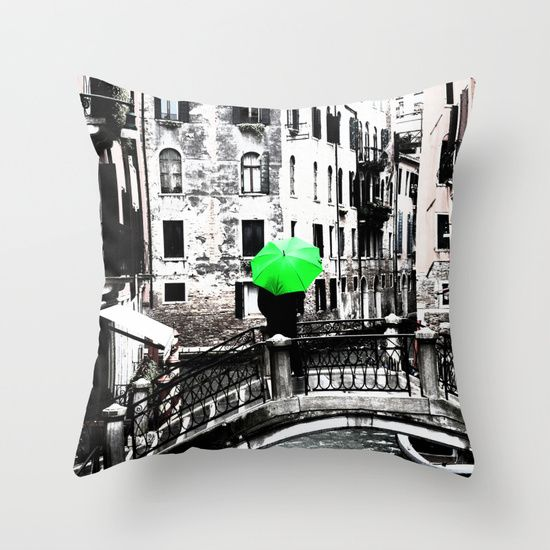 Throw Pillow - Green Umbrella in Venice #photo #venice #homedecor #society6