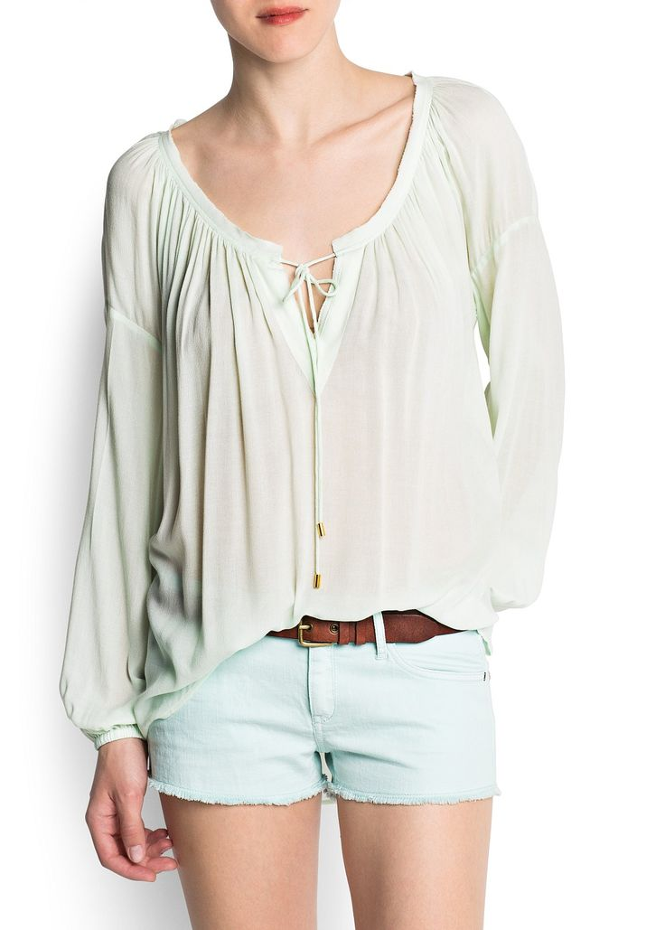 MANGO - CLOTHING - Tops - Gathered neckline blouse style top