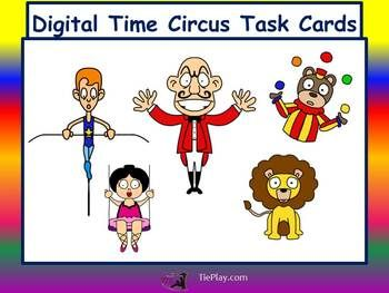 In Digital Time Circus Task Cards, third grade learners answer questions about digital time and circus characters. These circus task cards can be used as a class game, math center, or in small cooperative groups. This lesson is aligned to Common Core State Standards for third grade. Price $3.00 http://www.teacherspayteachers.com/Product/Digital-Time-Circus-Task-Cards-for-Third-GradeNo-Prep-1200914