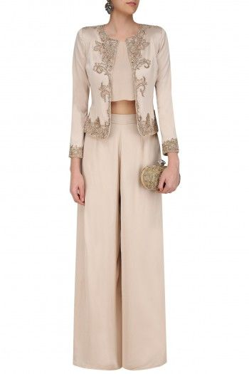 Platinoir Light Beige Jacket with Crop Top and Palazzo Pants #Platinoir#contemporary#shopnow #ppus #happyshopping