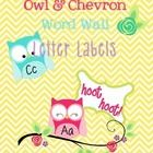 This is the perfect addition to your owl and chevron theme word wall! Use these as letter labels or even an alphabet display in your classroom. ...