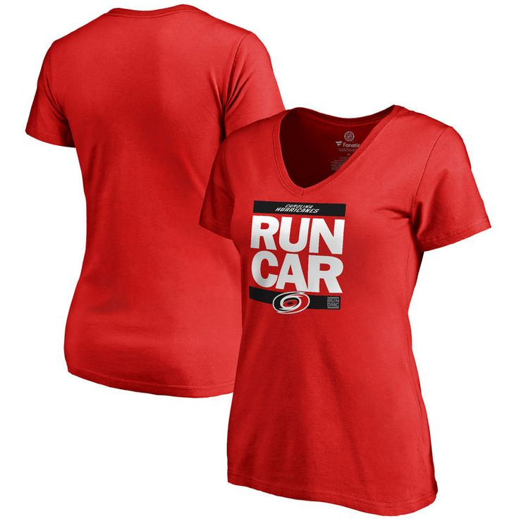 Carolina Hurricanes Women's RUN-CTY Slim Fit V-Neck T-Shirt - Red