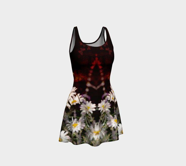 """Flare+Dress+""""Dark+Gothic+Grunge+Daisy+Mirror""""+by+Jocelyn+Ball"""