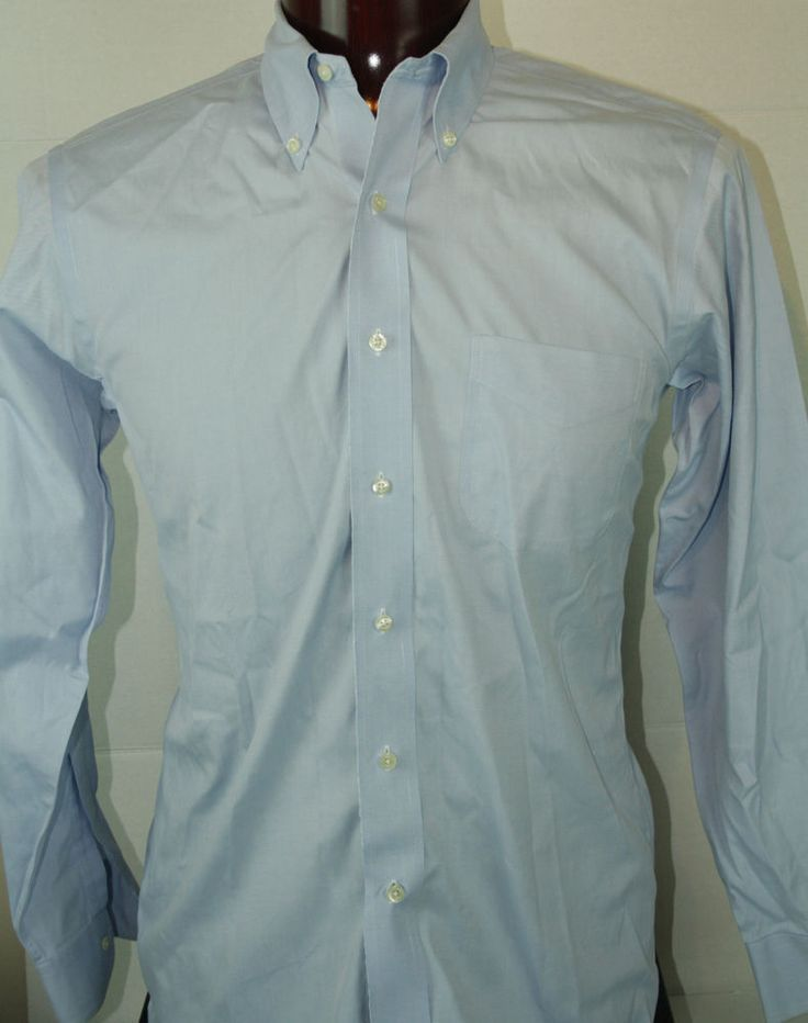 Brooks Brothers Button Front Mens Dress Shirt 15.5 X 33 Slim Fit Non Iron Blue