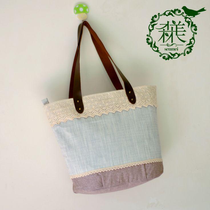 Linen handbag shoulder bag student bag canvas bag all-match lace small fresh female bags