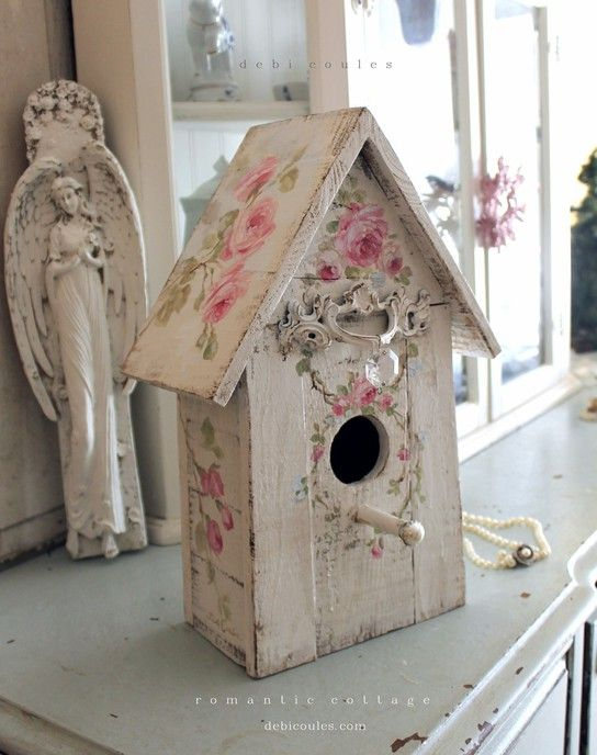 Shabby Chic Roses Birdhouse with Crystal and Pearl Perch - Debi Coules Romantic Art