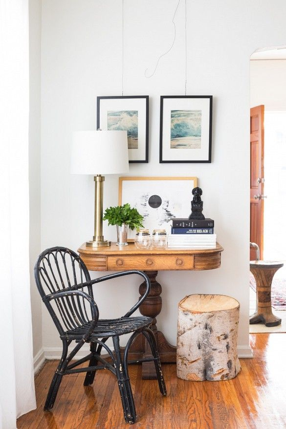 Entryway vignette styled with antique chair