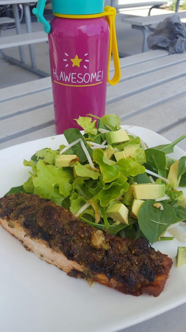 Almond and Herb crusted Salmon + Oakleaf spinach avocado salad + Lemon salt oil dressing