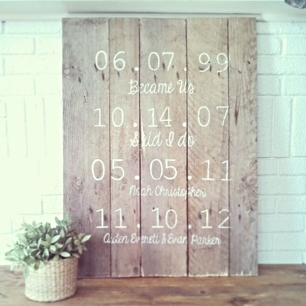 diy wood pallet important dates or best days of our lives sign - Wood Sign Design Ideas