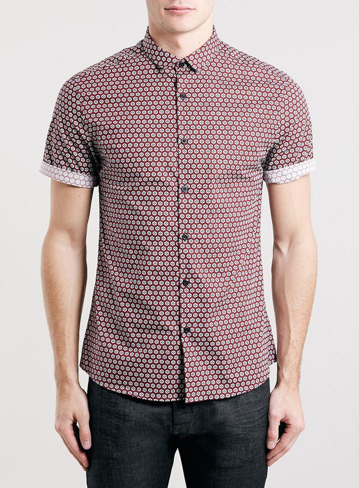 Red Short Sleeve Geo Print Shirt
