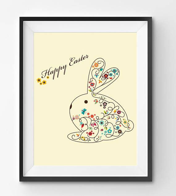 Happy Easter Floral Bunny in Yellow Background Art Print