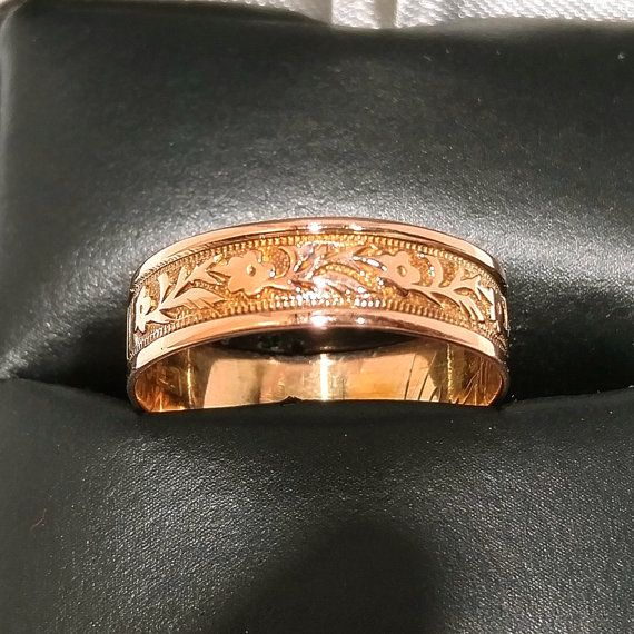 Georgian cigar band Vintage rose gold ring 14k by AuntBettysCurio