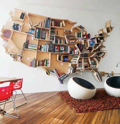 unique bookshelves, map bookshelf, creative bookshelves