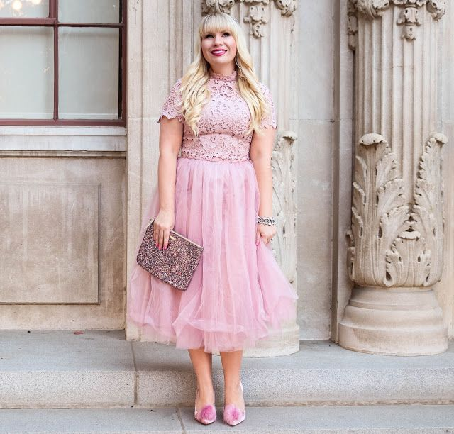 This feminine pink dress is fit for a princess! Love it styled with a sparkly Kate Spade glitter clutch and velvet pom pom heels!