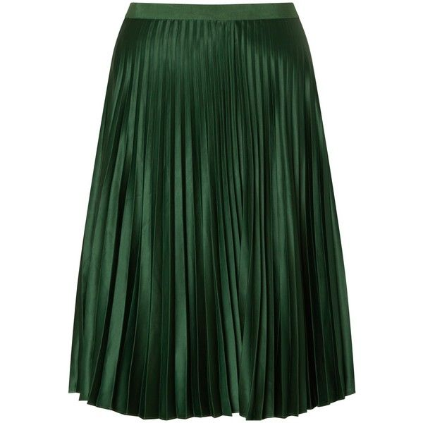 Maison Scotch Pleated Skirt, Green (€115) ❤ liked on Polyvore featuring skirts, green mini skirt, knee length skirts, stretchy skirt, mini skirt and maison scotch