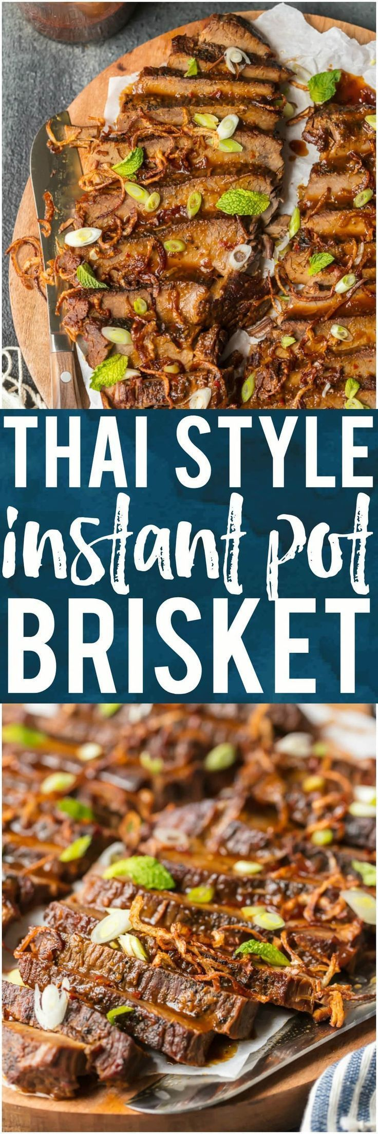 I'm obsessed with this THAI STYLE INSTANT POT BRISKET! The flavor is incredible and the pressure cooker makes things so quick and easy. This is a winning recipe that our family will make again and again. #instantpot #pressurecooker #beef #brisket #mint #easyrecipe