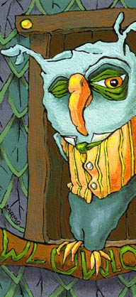 """Owl at Home in a Sweater Vest (detail). Acrylic on panel, 5"""" x 7"""".Owls Dors, Vest Details, Owls Inspiration, Owls Dresses, Tom Sarmo, Private Collection, Owls And, Owls Art, Sweaters Vest"""
