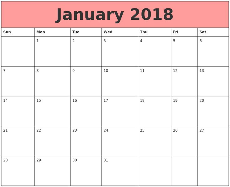 Calendar 2018 January Printable  #Calendar 2018 January - assessment calendar template