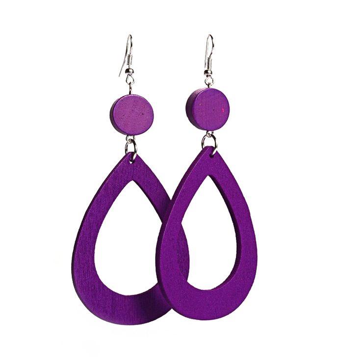 Purple open oval wooden drop earrings