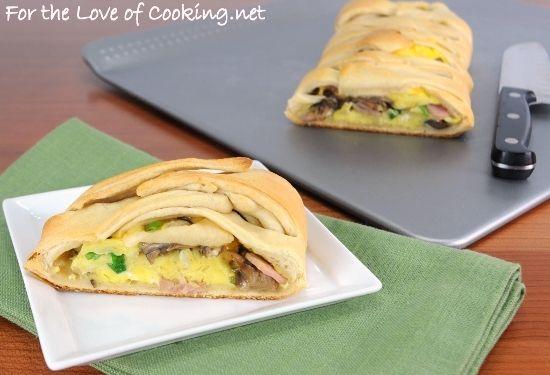 Breakfast Braid with Ham, Mushrooms, Cheddar, Green Onions, and ...
