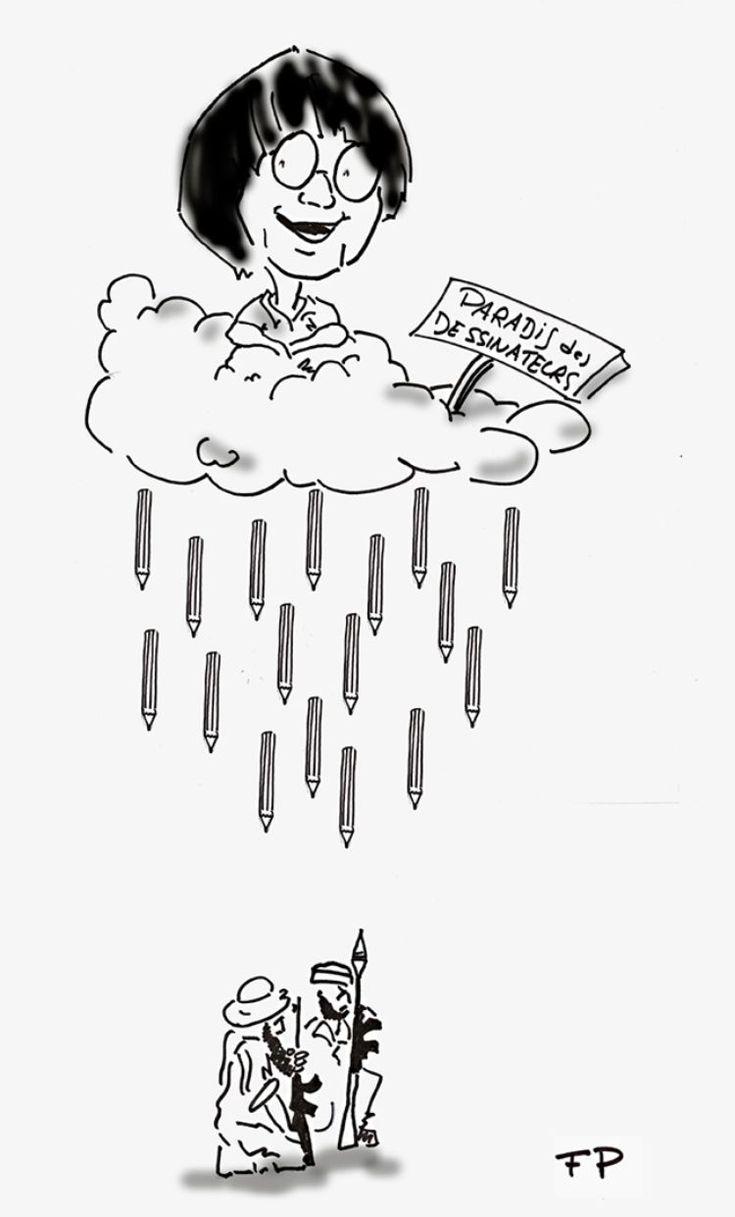 Hommage à Charlie Hebdo par le dessinateur FP, Libération. 7 au 9 janvier 2015.